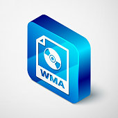 Isometric WMA file document icon. Download wma button icon isolated on white background. WMA file symbol. Wma music format sign. Blue square button. Vector Illustration