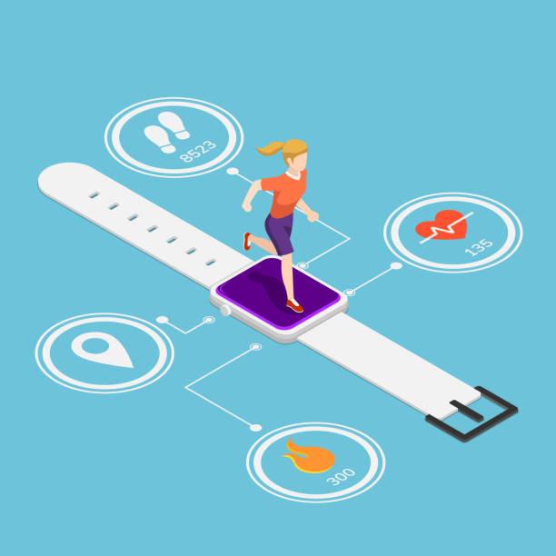 Isometric woman running on smartwatch vector art illustration
