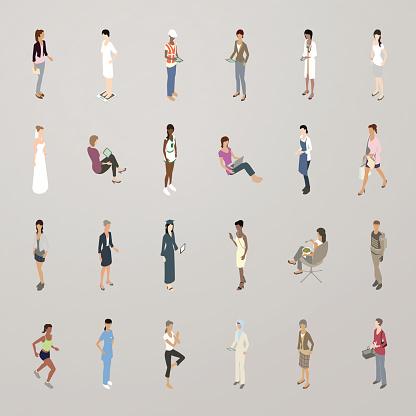 Isometric Women Flat Icons
