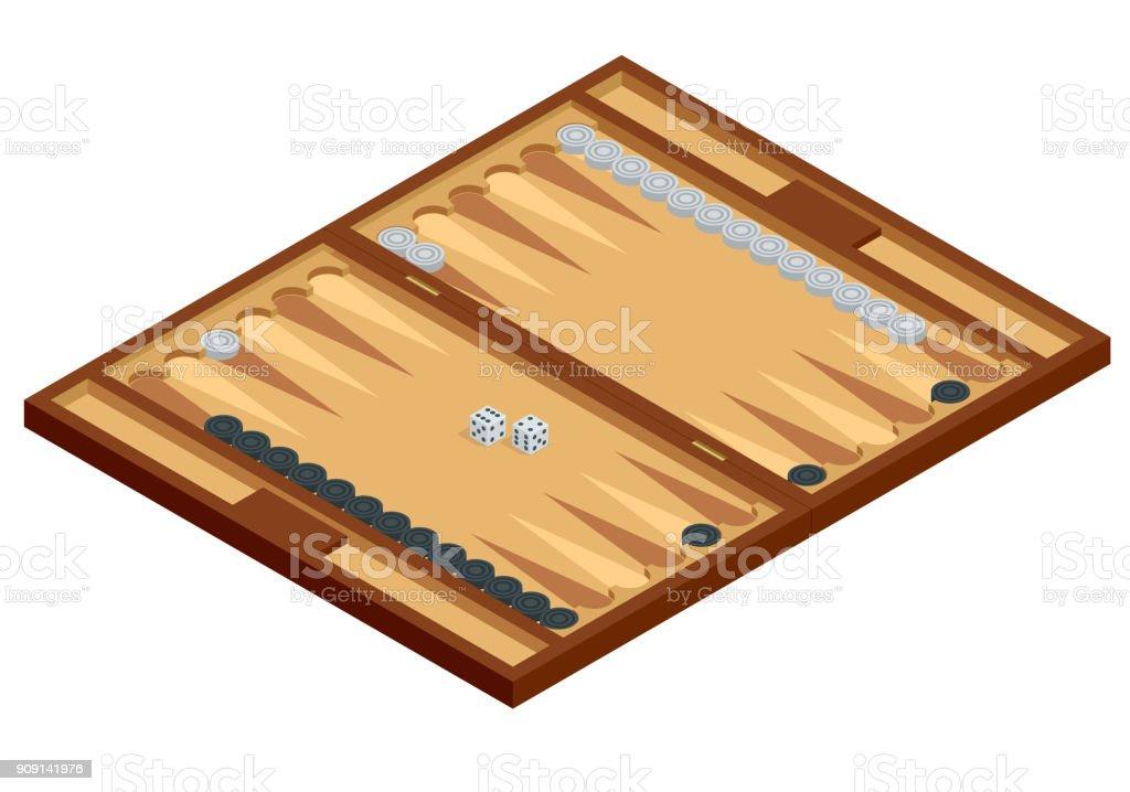 Isométrica Backgammon tablero de madera, con piezas y dados de juego. Ilustración de vector - ilustración de arte vectorial