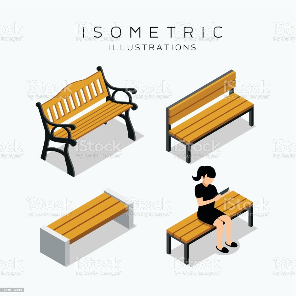 Excellent Isometric Wooden Bench Collection Stock Vector Art More Pabps2019 Chair Design Images Pabps2019Com
