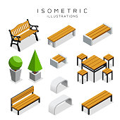 Isometric wooden bench collection