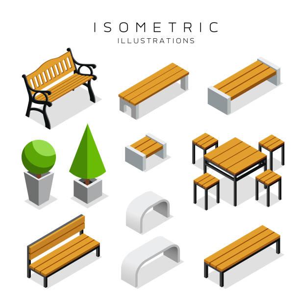 ilustrações, clipart, desenhos animados e ícones de coleção de isométrica banco de madeira - banco assento