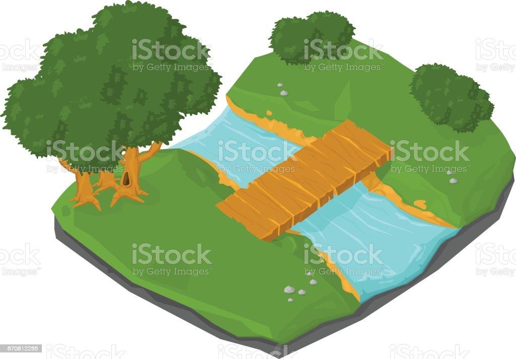 Isometric Wooden Footbridge Nature Park Icon. vector art illustration