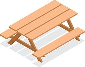 Isometric wooden table with benches. 3d vector outdoor furniture icon