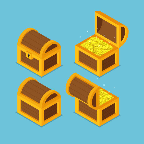 Isometric wooden treasure chests. Flat 3d isometric open and closed wooden treasure chests. antiquities stock illustrations