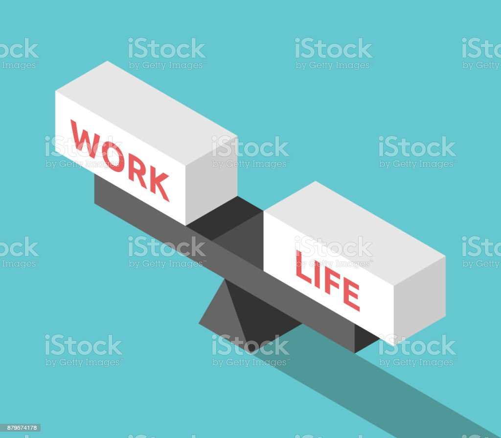 Isometric work life balance vector art illustration