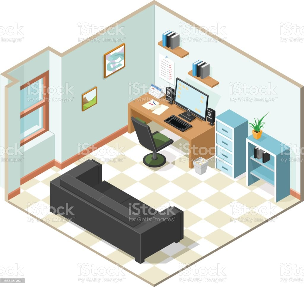 Isometric Working From Home Icon. vector art illustration