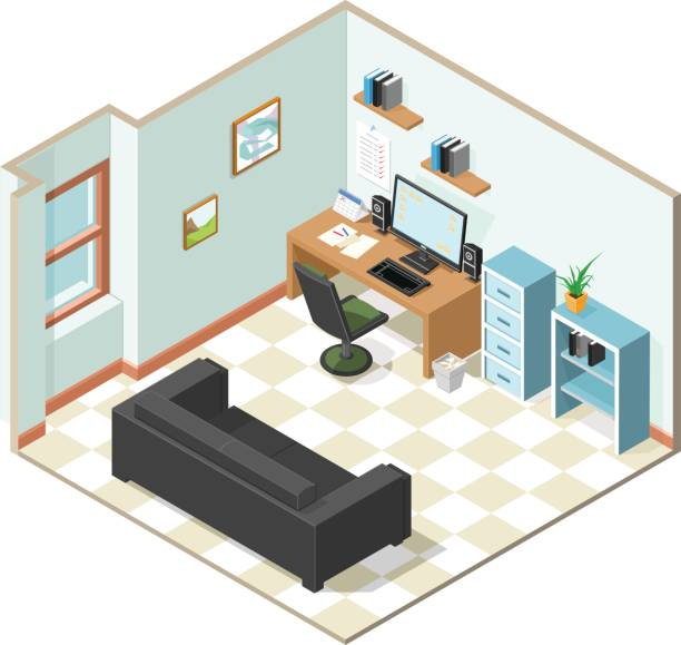 isometric working from home icon. - telecommuting stock illustrations, clip art, cartoons, & icons