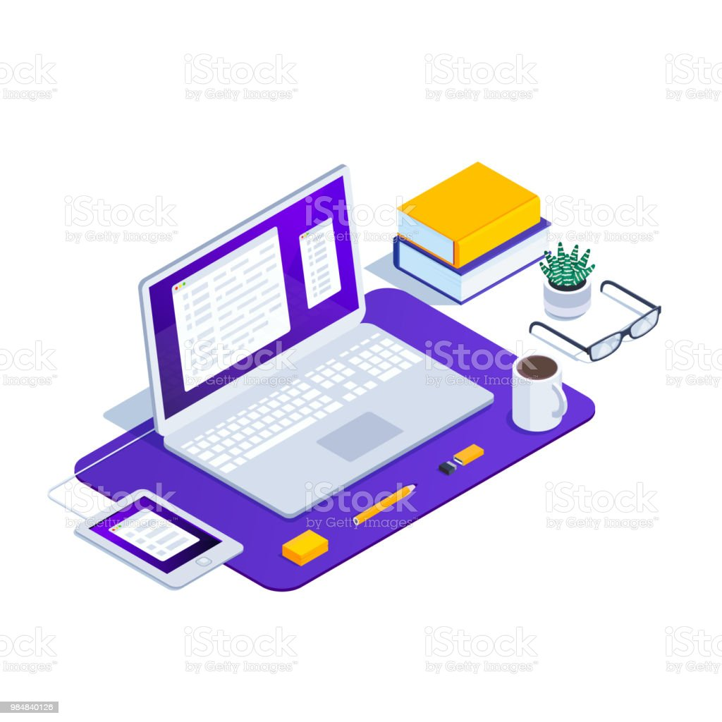 Isometric workplace of the programmer. 3d laptop with code and a...