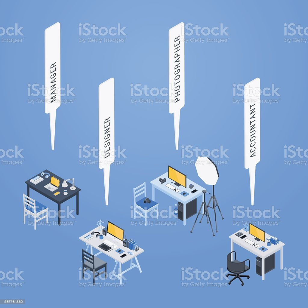 Isometric workplaces of the manager, designer, photographer and accountant vector art illustration