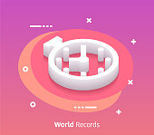 World records isometric design concept with modern style gradients. Vector design elements useful for web banner or poster.
