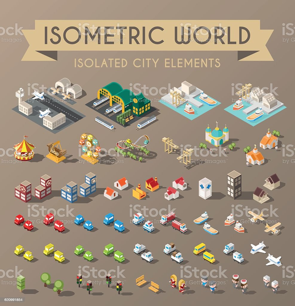 Isometric World. vector art illustration