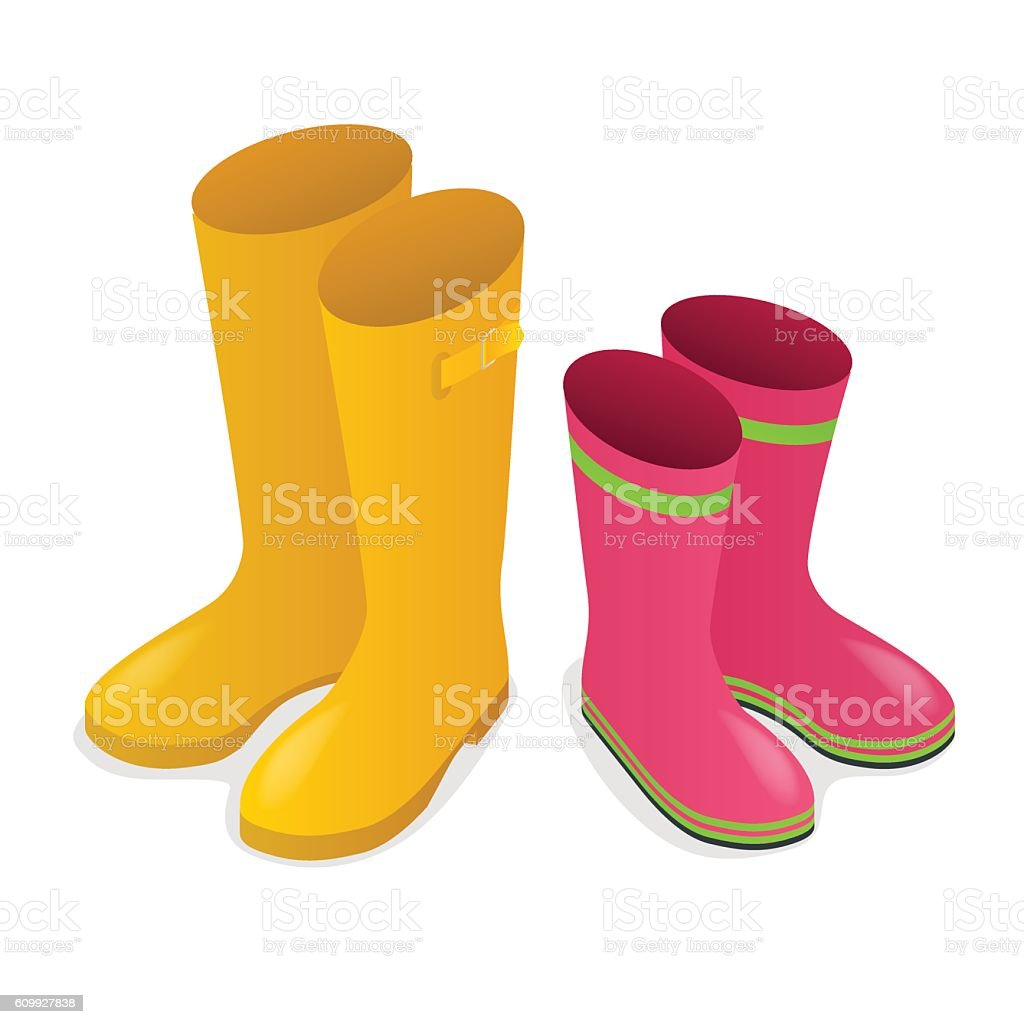Isometric yellow and pink rubber boots vector art illustration