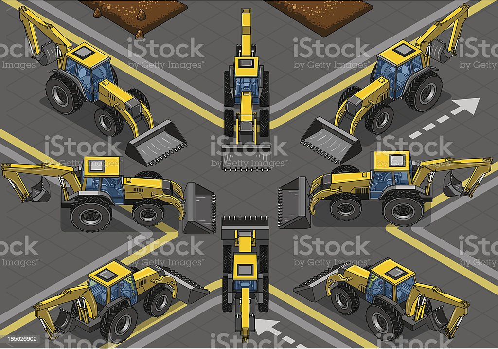 Isometric Yellow Backhoe in Eight Positions royalty-free stock vector art