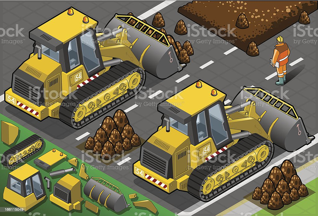 Isometric Yellow Bulldozer in Rear View royalty-free stock vector art
