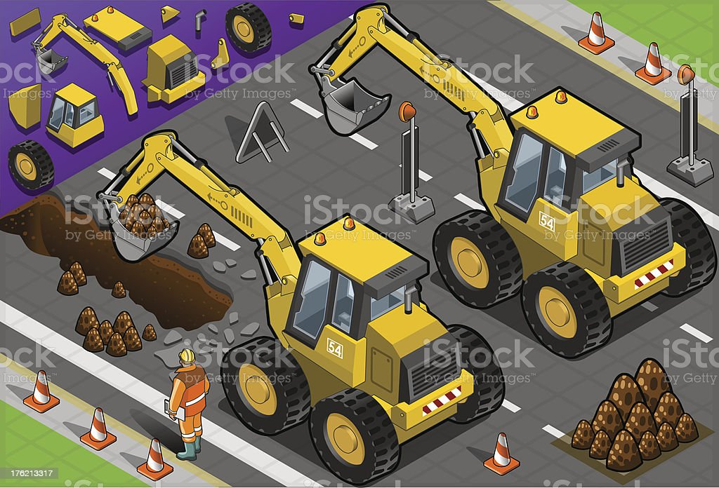 Isometric Yellow Excavator in Rear View royalty-free isometric yellow excavator in rear view stock vector art & more images of adult