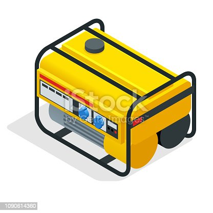Isometric yellow Gasoline Generator. industrial and home immovable power generator. Diesel electric generator on outdoor vector illustration.
