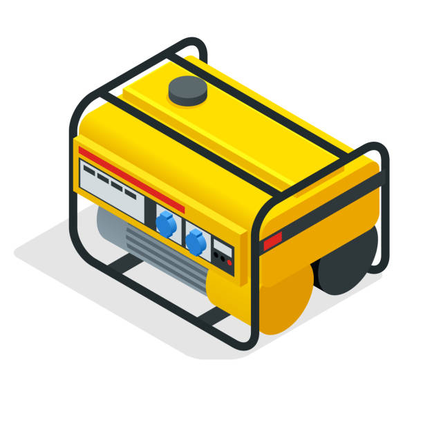 Isometric yellow Gasoline Generator. industrial and home immovable power generator. Diesel electric generator on outdoor vector illustration vector art illustration