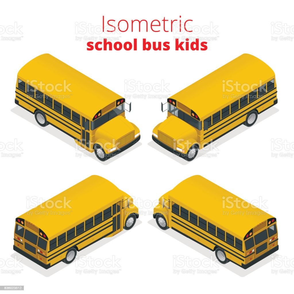 Isometric Yellow School Bus Kids vector illustration isolated on white background. Transportation pupil or student, transport and automobile. vector art illustration