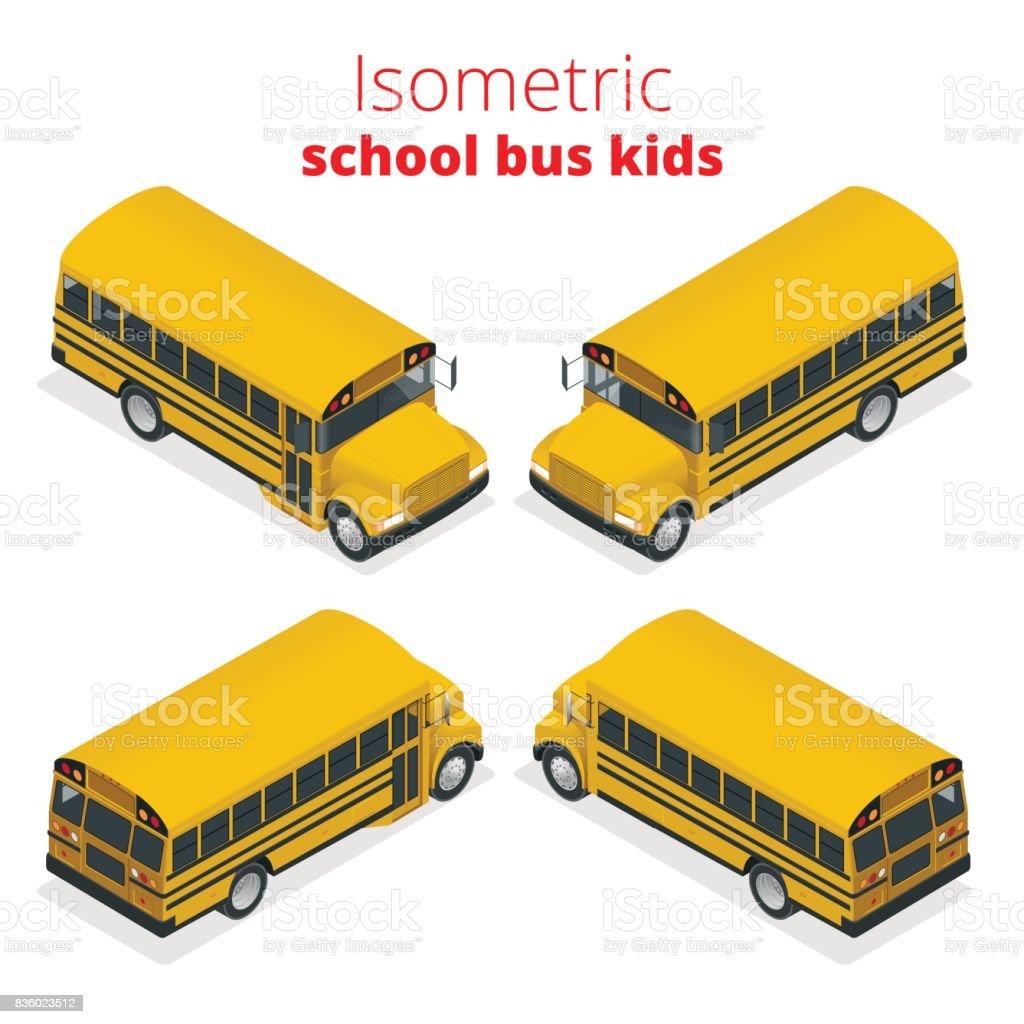 等尺性黄色学校バスの子供たちは、白い背景で隔離の図をベクトルします。交通生徒または学生、交通機関と自動車。 ベクターアートイラスト