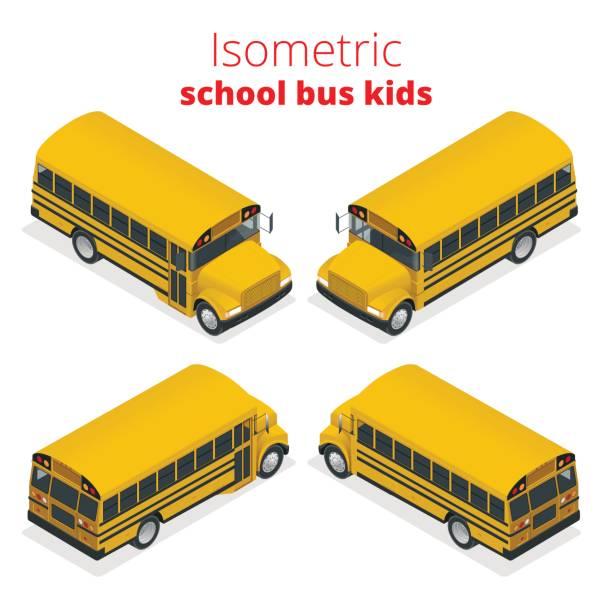ilustrações, clipart, desenhos animados e ícones de isometric amarelo autocarro crianças vector ilustração isolado no fundo branco. transporte aluno ou estudante, transportes e automóvel. - ônibus escolares