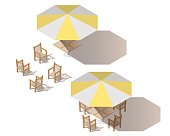 Isometric yellow umbrella with empty table and chairs.