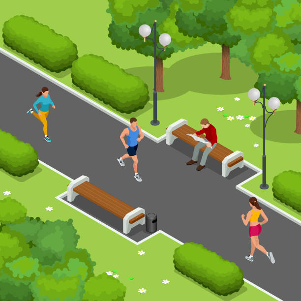 ilustrações de stock, clip art, desenhos animados e ícones de isometric young woman and man runners running on a city park. sportive people training in an urban area, healthy lifestyle and sports concepts. vector isometric illustration. - young woman running city