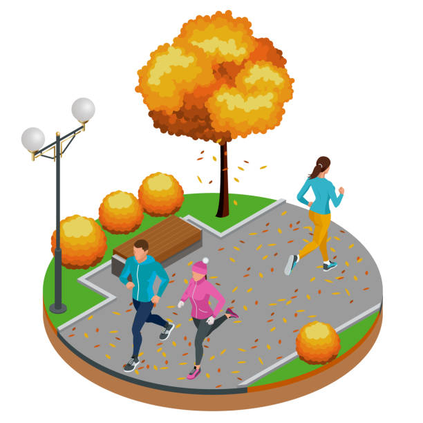 ilustrações de stock, clip art, desenhos animados e ícones de isometric young woman and man runners running on a city park. sportive people training in an urban area, healthy lifestyle and sports concepts. - young woman running city