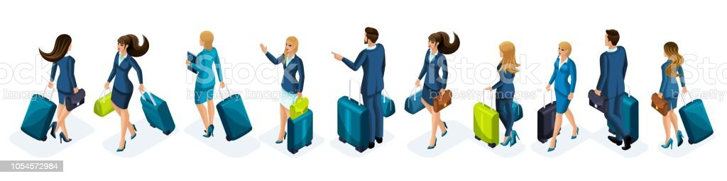 Isometrics A set of businessmen and a business lady on a business trip, with luggage at the airport, front and back view. Traveling businessmen, business trip vector art illustration