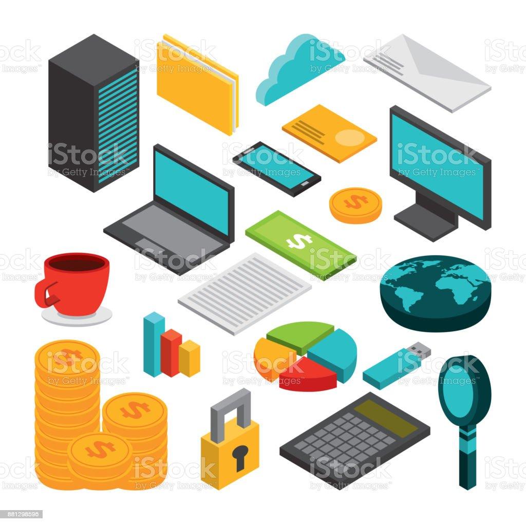 diseño de concepto de negocio de isométricos - ilustración de arte vectorial