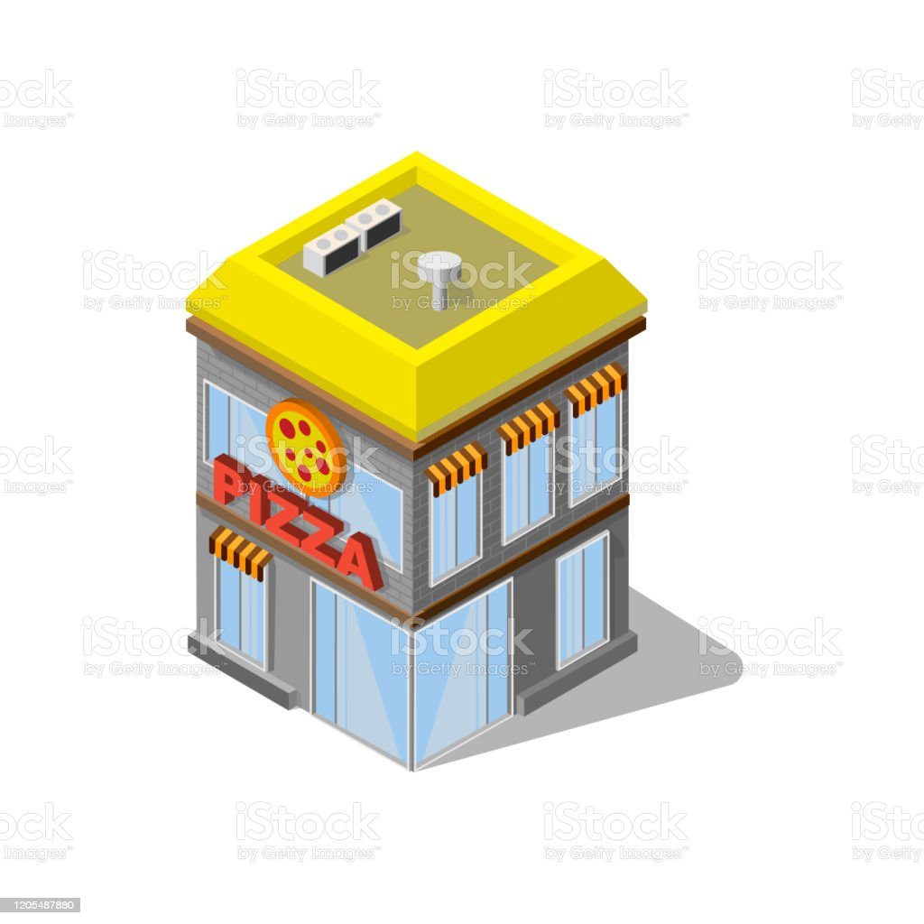 Isometry Building Pizzeria Restaurant With Logo Yellow And Grey Color Stock Illustration Download Image Now Istock