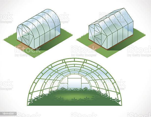 Isometry Greenhouses Stockvectorkunst en meer beelden van Architectonisch element