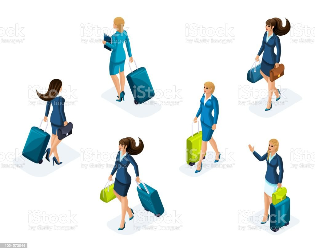 Isometry large Set of business women on a business trip, with luggage at the airport, front and back view. Traveling businessmen, business trip vector art illustration