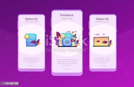 Copywriter at huge laptop writting creative advertising text. Copywriting job, home based copywriter, freelance copywriting concept. Mobile UI UX GUI template, app interface wireframe