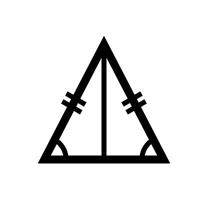 Isosceles triangle, two equal length geometric figure
