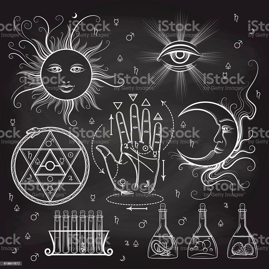 Isoteric and alchemy elements on chalkboard vector art illustration