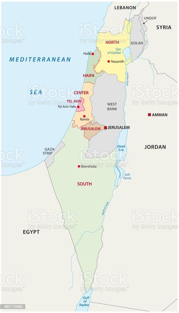Israel administrative map vector art illustration