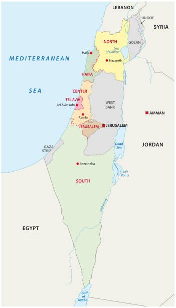 administrative karte von israel - haifa stock-grafiken, -clipart, -cartoons und -symbole