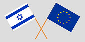 Israel and EU. The Israeli and European Union flags. Official colors. Correct proportion. Vector