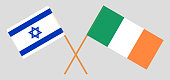 Israel and Ireland. The Israeli and Irish flags. Official colors. Correct proportion. Vector