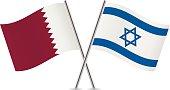 Israel and Qatar flags. Vector illustration.