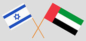 Israel and United Arab Emirates. The Israeli UAE flags. Official colors. Correct proportion. Vector