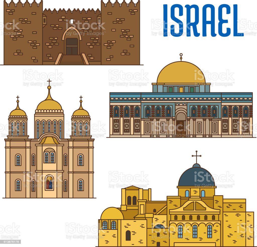 israel architecture and famous buildings stock vector art