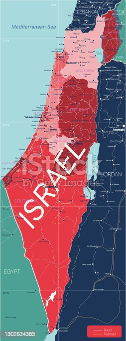 Israel country detailed editable map