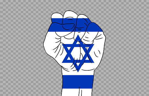 Israel flag colored hand isolated on png or transparent  background, Symbols of Israel template for banner,card,advertising ,promote,magazine,vector,top gold medal winner sport country