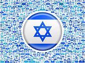 Israel Flag on Stick Figure Icon Pattern
