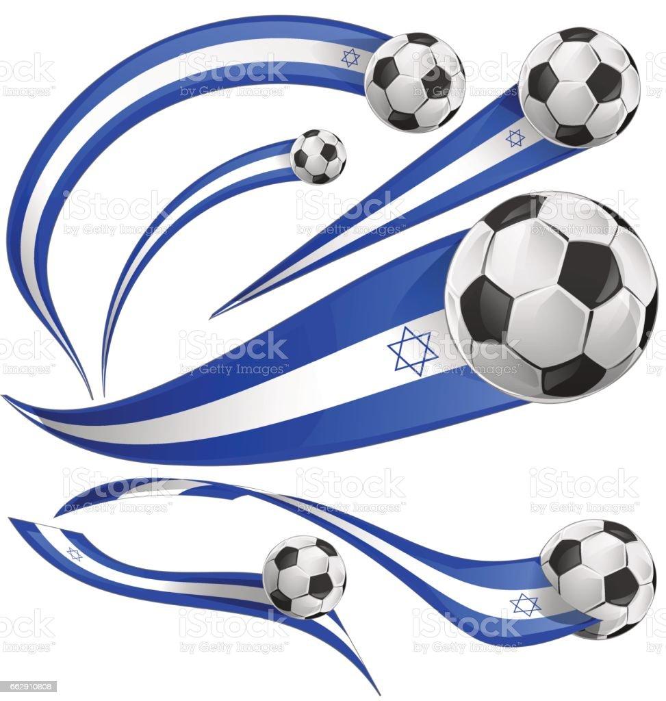 israel flag set with soccer ball vector art illustration