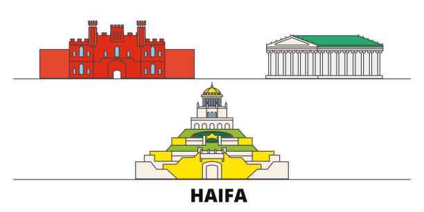 israel, haifa flachlandmarken-vektorabbildung. israel, haifa-stadt mit berühmten reisesehenswürdigkeiten, skyline, design. - haifa stock-grafiken, -clipart, -cartoons und -symbole