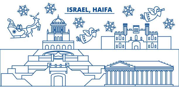 israel, haifa winter skyline der stadt. frohe weihnachten, frohes neues banner mit santa claus.winter gruß leitungskarte verziert. flach, umriss vektor. lineare weihnachten schnee abbildung - haifa stock-grafiken, -clipart, -cartoons und -symbole